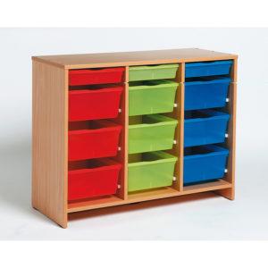szafka bukowa z 12 kolorowymi pojemnikami MobiNathan