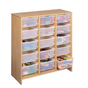 szafka bukowa z 15 bezbarwnymi pojemnikami MobiNathan - w przedszkolu