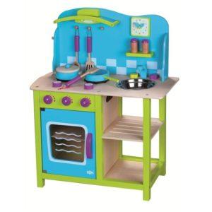 kuchnia drewniana niebieska