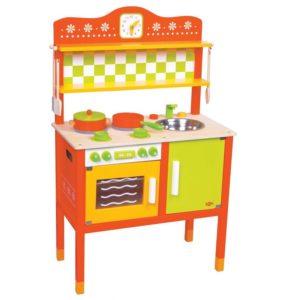 kuchnia drewniana pomarańczowo-zielona