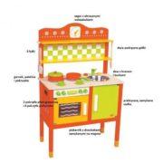 kuchnia drewniana pomarańczowo-zielona - elementy