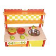 kuchnia drewniana pomarańczowo-zielona - zoom