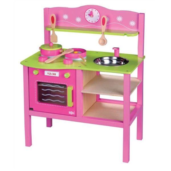 kuchnia drewniana różowa