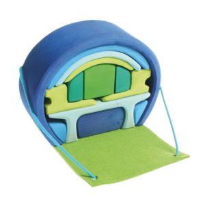 mobilny dom niebiesko-zielony Grimm's