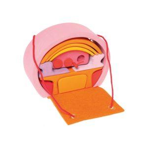 mobilny dom różowo-pomarańczowy Grimm's