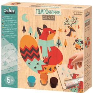zestaw kreatywny las - tampondruk na drewnie - opakowanie