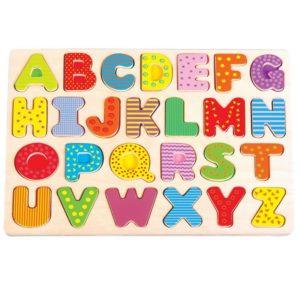 Puzzle drewniane układanka alfabet - duże litery
