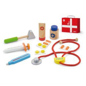 Drewniany zestaw małego lekarza w walizce