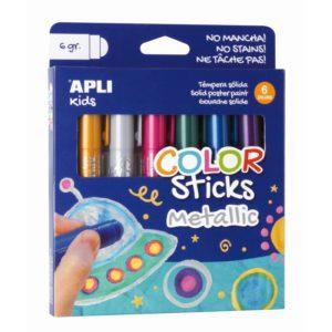 Farby w kredce metaliczne Apli Kids - 6 kolorów - opakowanie